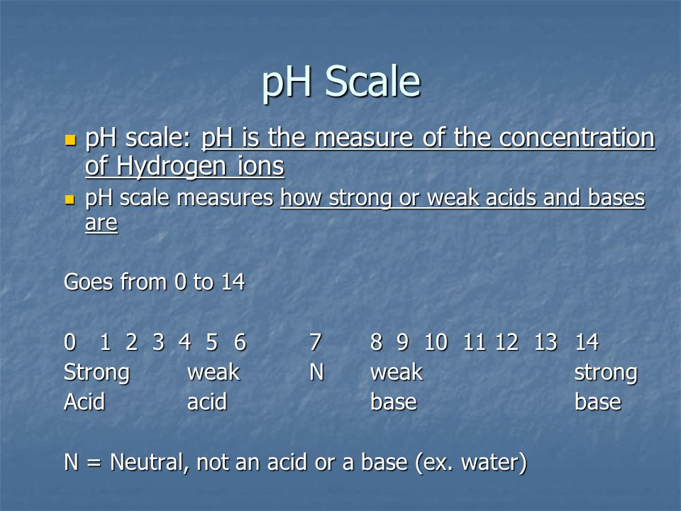 pH Scale pH scale: pH is the measure of the concentration of Hydrogen ions pH scale: pH is the measure of the concentration of Hydrogen ions pH scale measures how strong or weak acids and bases are pH scale measures how strong or weak acids and bases are Goes from 0 to Strong weak Nweakstrong Acid acidbasebase N = Neutral, not an acid or a base (ex.