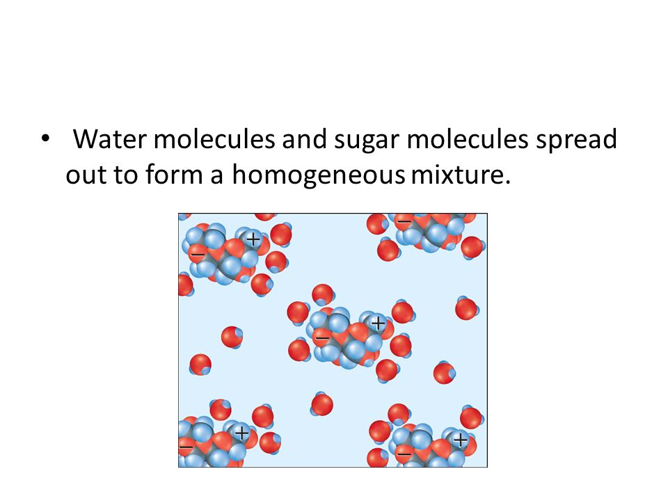Water molecules and sugar molecules spread out to form a homogeneous mixture.