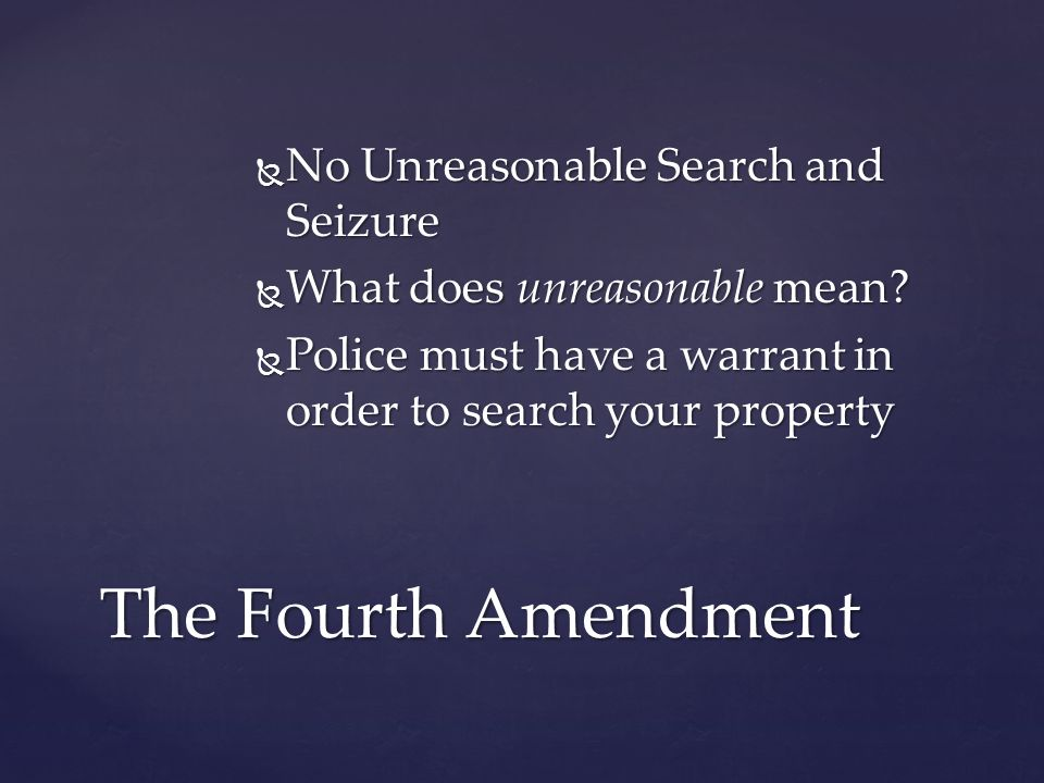  No Unreasonable Search and Seizure  What does unreasonable mean.