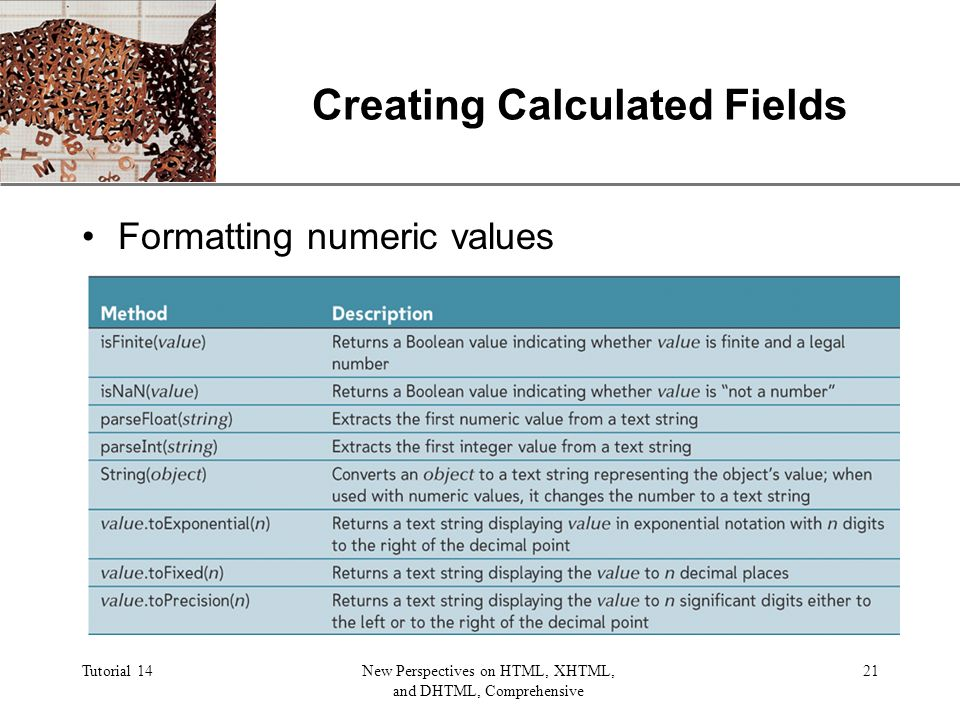 XP Tutorial 14New Perspectives on HTML, XHTML, and DHTML, Comprehensive 21 Creating Calculated Fields Formatting numeric values