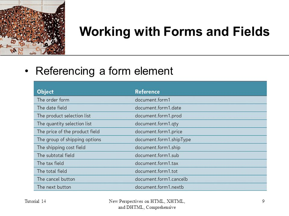 XP Tutorial 14New Perspectives on HTML, XHTML, and DHTML, Comprehensive 9 Working with Forms and Fields Referencing a form element