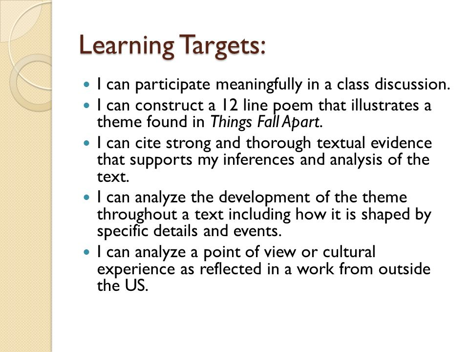 Learning Targets: I can participate meaningfully in a class discussion.