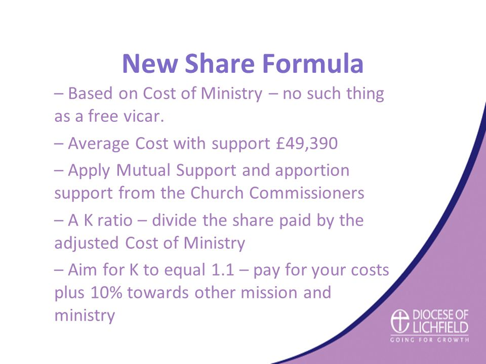 New Share Formula – Based on Cost of Ministry – no such thing as a free vicar.