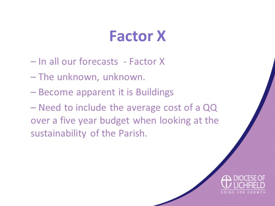 Factor X – In all our forecasts - Factor X – The unknown, unknown.