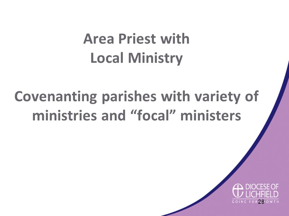 Area Priest with Local Ministry Covenanting parishes with variety of ministries and focal ministers 28