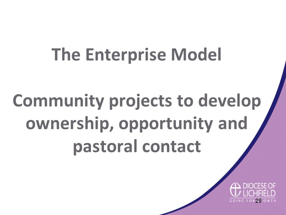 The Enterprise Model Community projects to develop ownership, opportunity and pastoral contact 29