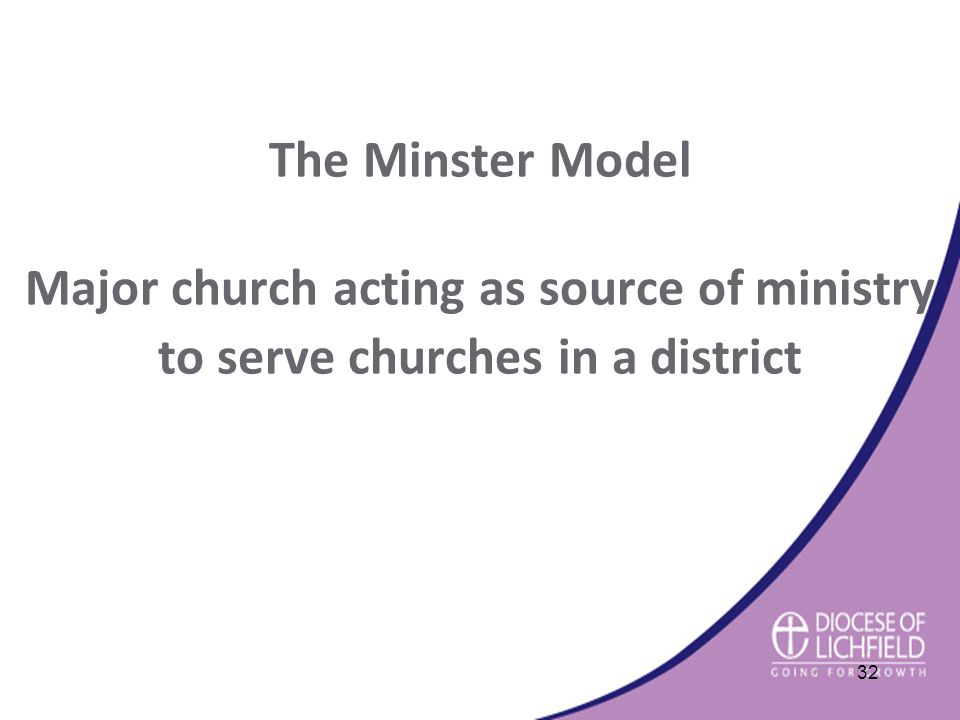 The Minster Model Major church acting as source of ministry to serve churches in a district 32