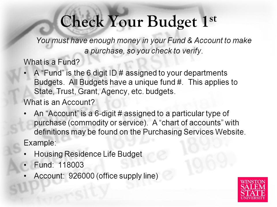 Check Your Budget 1 st You must have enough money in your Fund & Account to make a purchase, so you check to verify.