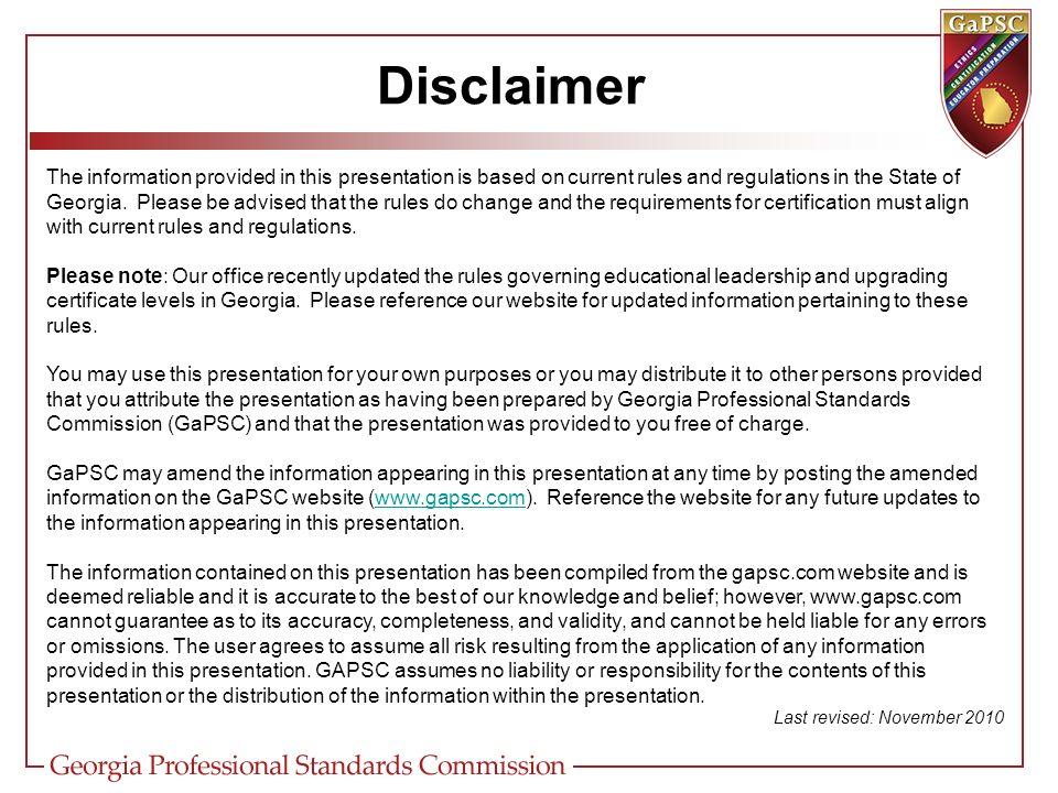 GASPA Upgrades and Leadership December 3, Disclaimer So, Georgia ...