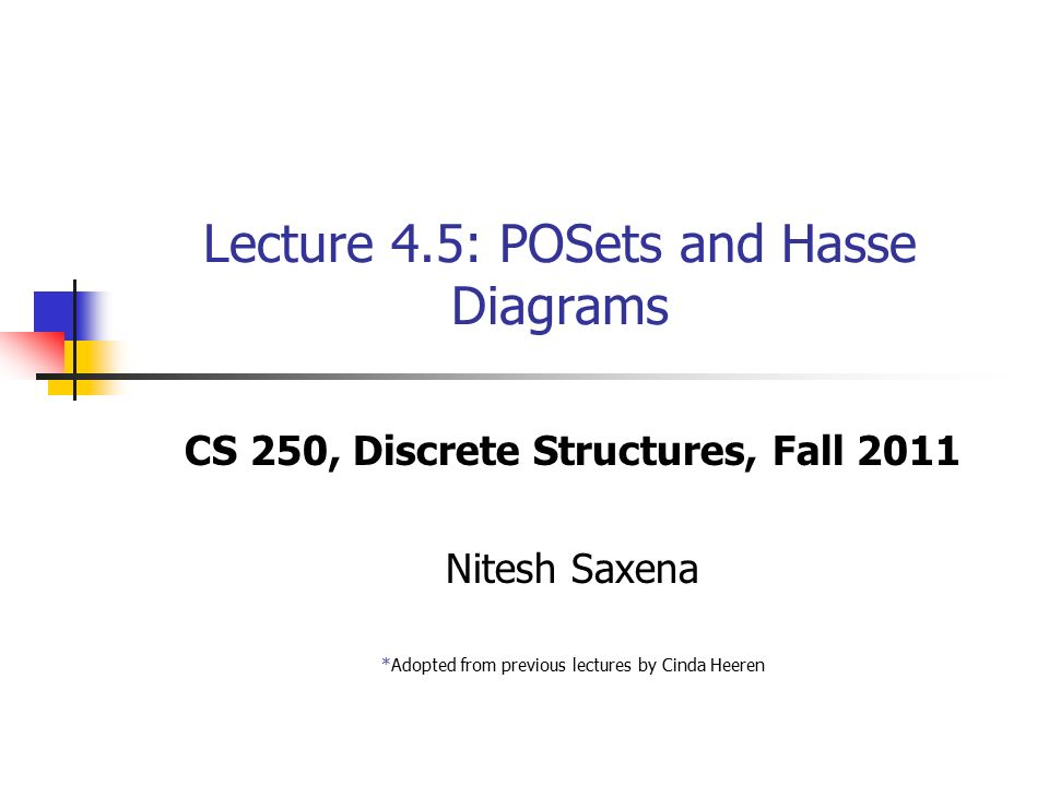 Lecture 45 posets and hasse diagrams cs 250 discrete structures 1 lecture 45 posets and hasse diagrams cs 250 discrete structures fall 2011 nitesh saxena adopted from previous lectures by cinda heeren ccuart Choice Image