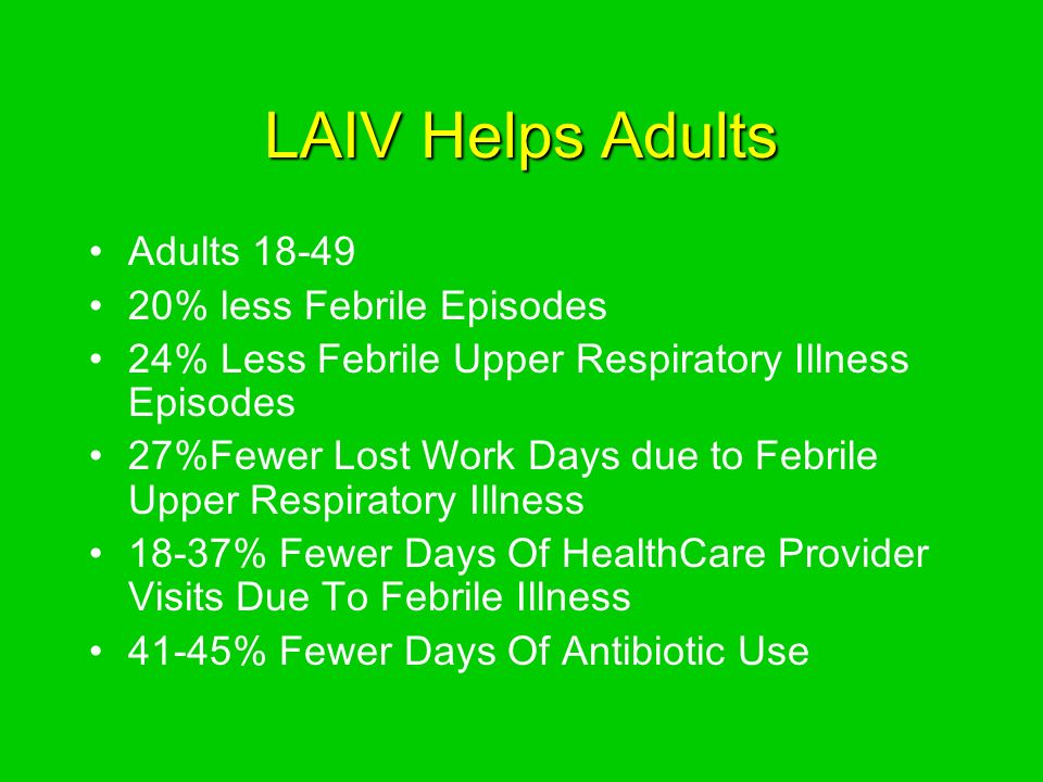 LAIV Helps Adults Adults % less Febrile Episodes 24% Less Febrile Upper Respiratory Illness Episodes 27%Fewer Lost Work Days due to Febrile Upper Respiratory Illness 18-37% Fewer Days Of HealthCare Provider Visits Due To Febrile Illness 41-45% Fewer Days Of Antibiotic Use