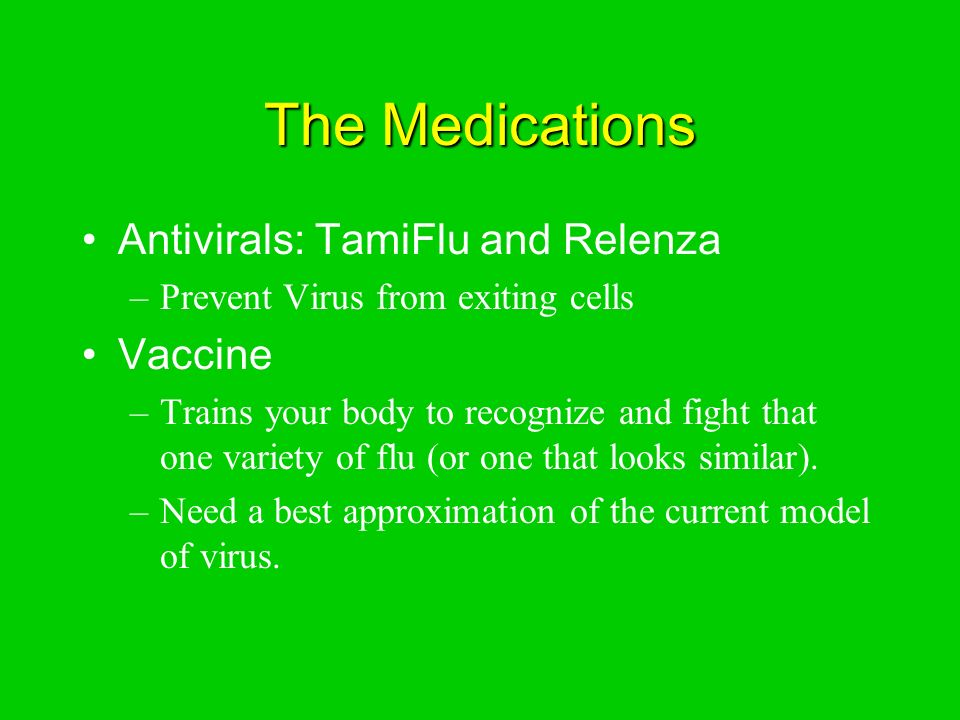 The Medications Antivirals: TamiFlu and Relenza –Prevent Virus from exiting cells Vaccine –Trains your body to recognize and fight that one variety of flu (or one that looks similar).