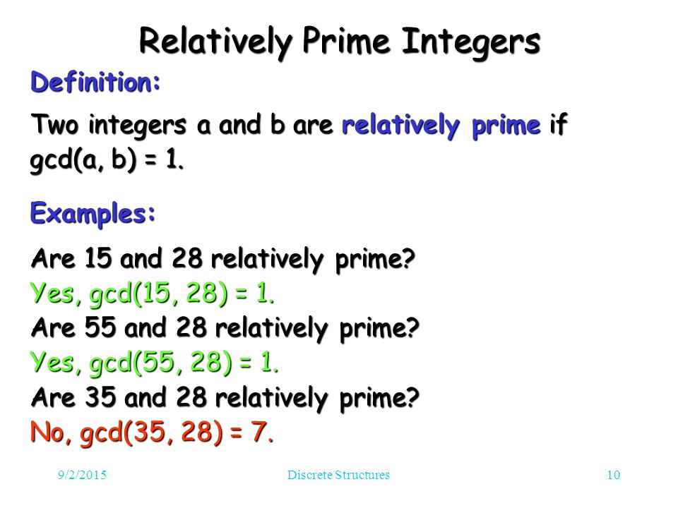 9/2/2015Discrete Structures10 Relatively Prime Integers Definition: Two integers a and b are relatively prime if gcd(a, b) = 1.