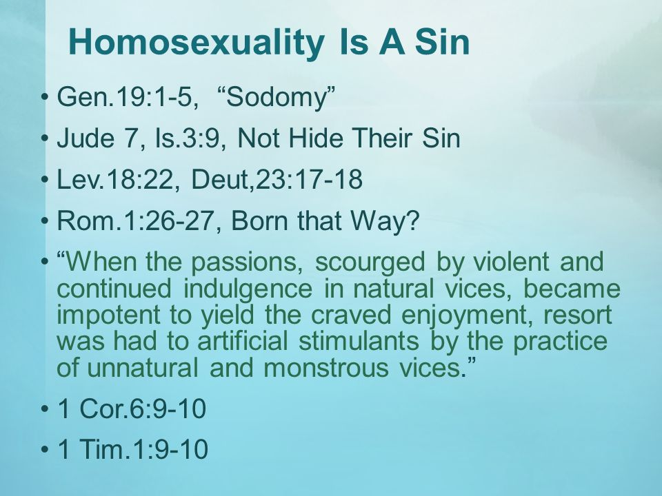 Does god think homosexuality is wrong