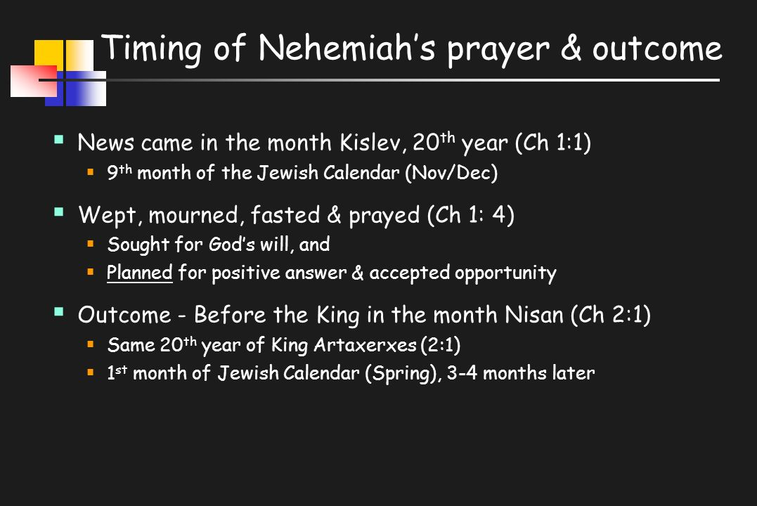 Timing of Nehemiah's prayer & outcome  News came in the month Kislev, 20 th year (Ch 1:1)  9 th month of the Jewish Calendar (Nov/Dec)  Wept, mourned, fasted & prayed (Ch 1: 4)  Sought for God's will, and  Planned for positive answer & accepted opportunity  Outcome - Before the King in the month Nisan (Ch 2:1)  Same 20 th year of King Artaxerxes (2:1)  1 st month of Jewish Calendar (Spring), 3-4 months later