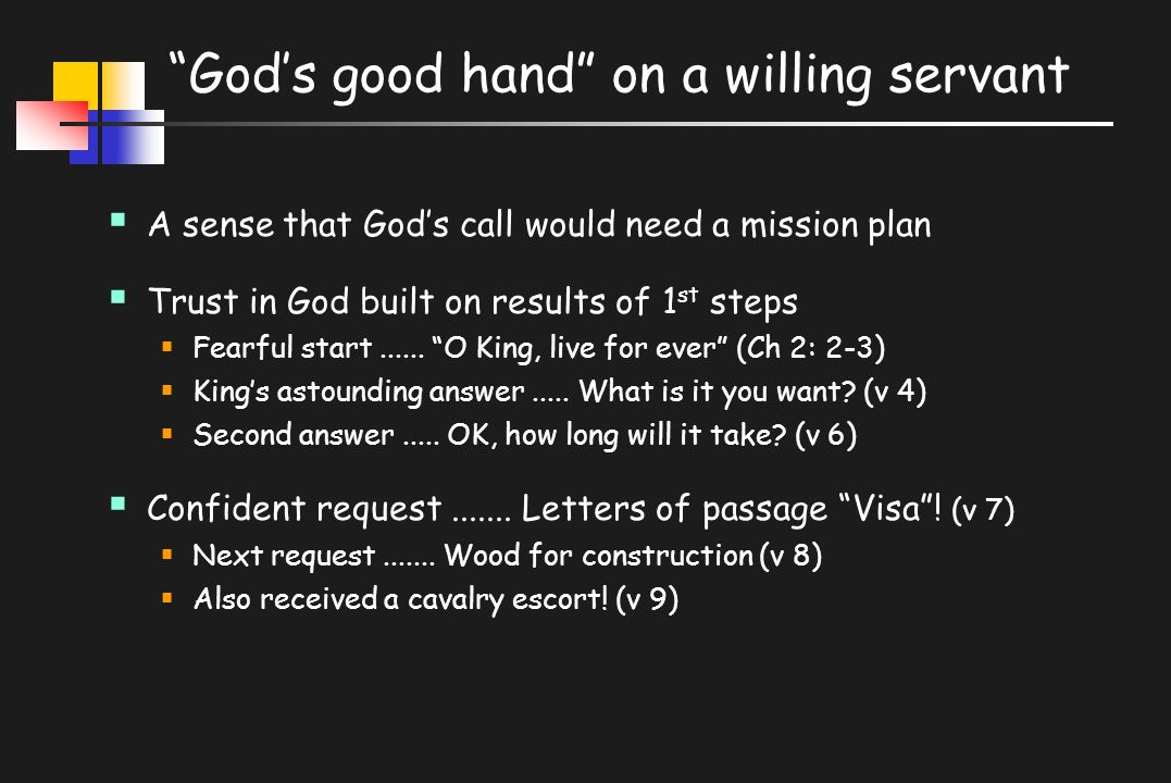 God's good hand on a willing servant  A sense that God's call would need a mission plan  Trust in God built on results of 1 st steps  Fearful start......