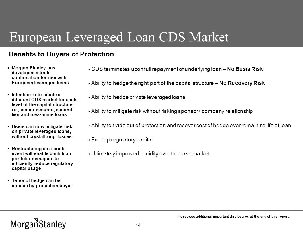 Morgan Stanley & Co  International Ltd European Leveraged Loan CDS