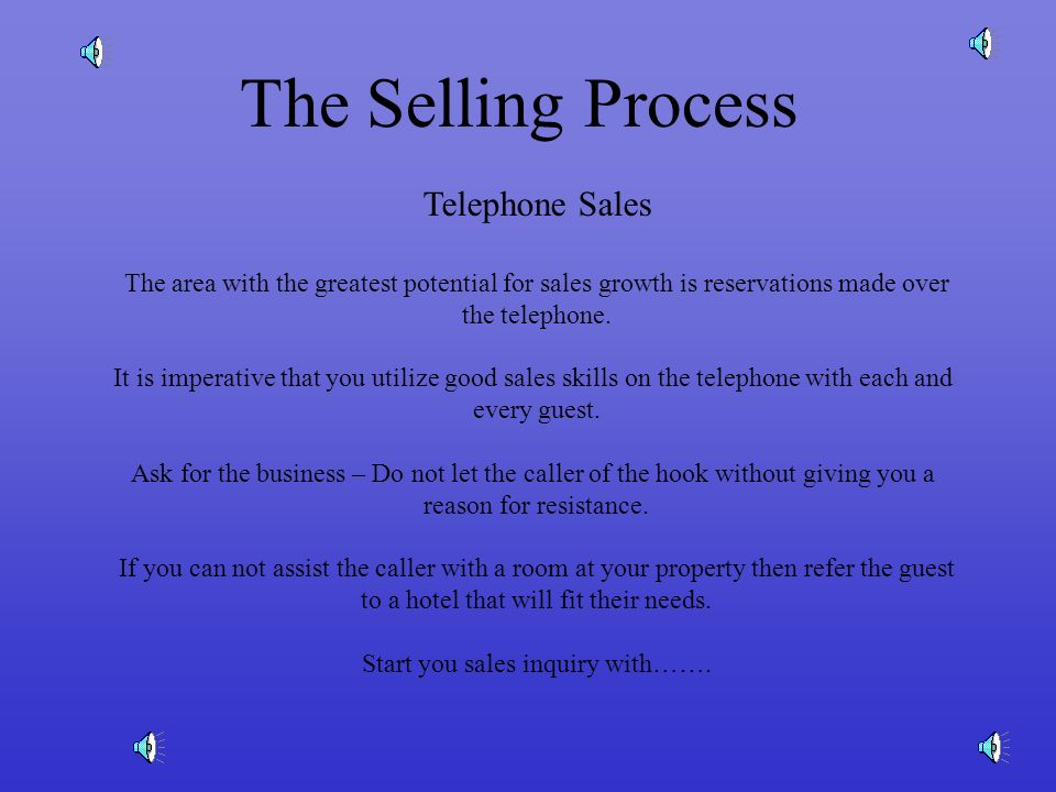 The Selling Process Telephone Sales The area with the greatest potential for sales growth is reservations made over the telephone.