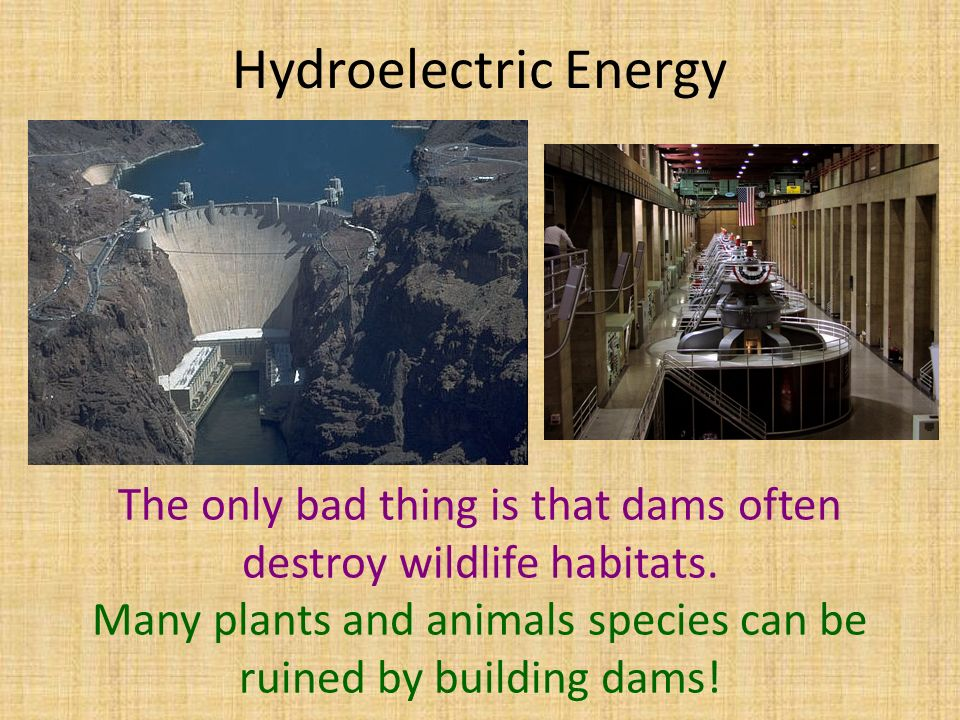 Hydroelectric Energy The only bad thing is that dams often destroy wildlife habitats.