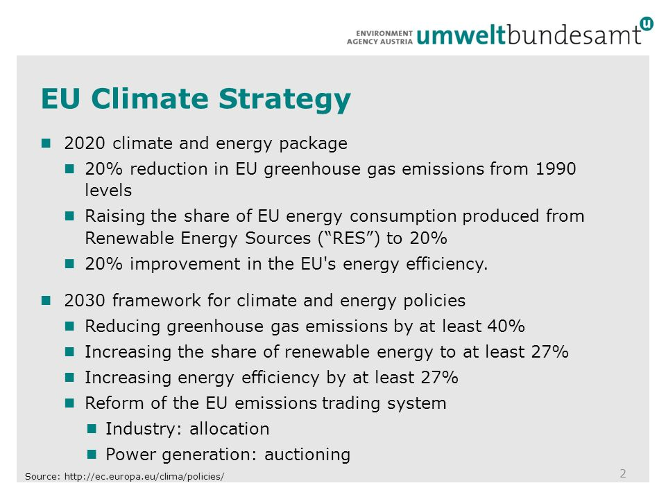 EU Climate Strategy climate and energy package 20% reduction in EU greenhouse gas emissions from 1990 levels Raising the share of EU energy consumption produced from Renewable Energy Sources ( RES ) to 20% 20% improvement in the EU s energy efficiency.