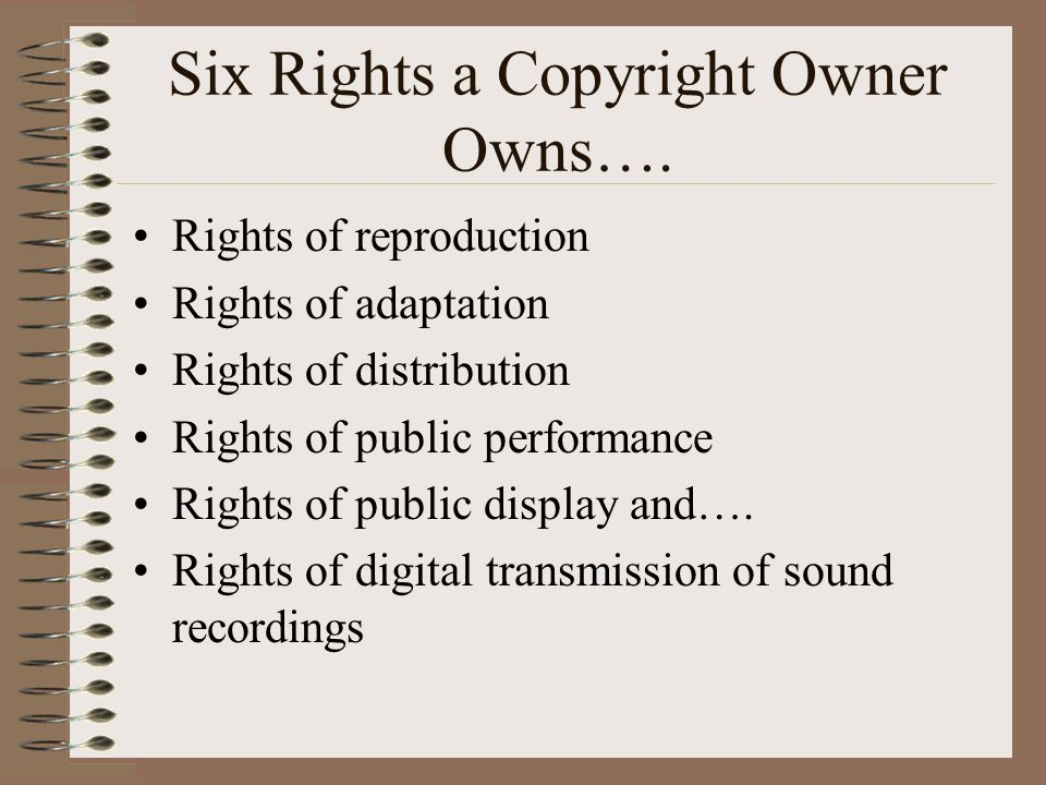 Six Rights a Copyright Owner Owns….