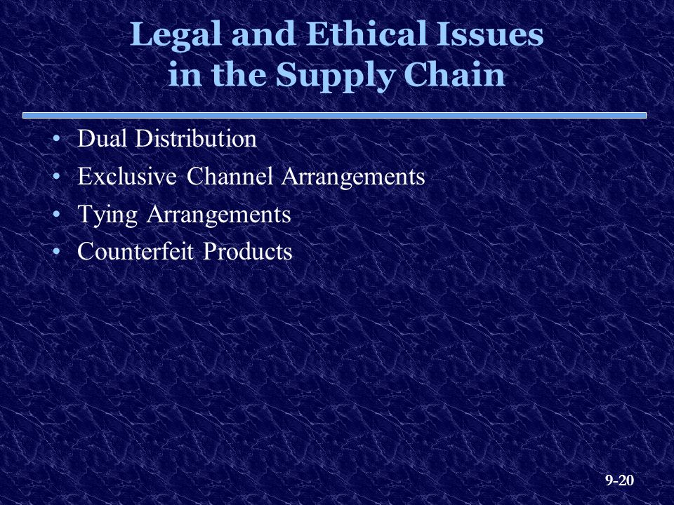 9-20 Legal and Ethical Issues in the Supply Chain Dual Distribution Exclusive Channel Arrangements Tying Arrangements Counterfeit Products