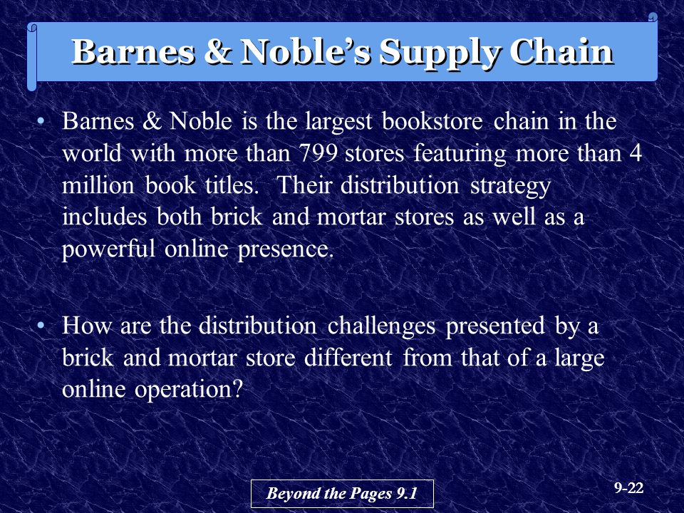 9-22 Barnes & Noble is the largest bookstore chain in the world with more than 799 stores featuring more than 4 million book titles.