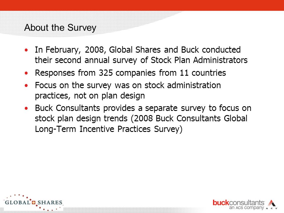 2 About The Survey In February 2008 Global Shares And Buck Conducted Their Second Annual Of Stock Plan Administrators Responses From 325 Companies