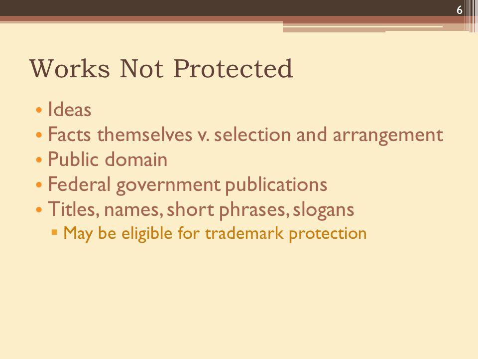 Works Not Protected Ideas Facts themselves v.