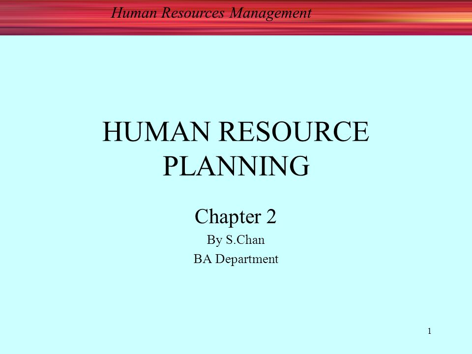Human Resources Management 1 HUMAN RESOURCE PLANNING Chapter 2 By S.Chan BA Department