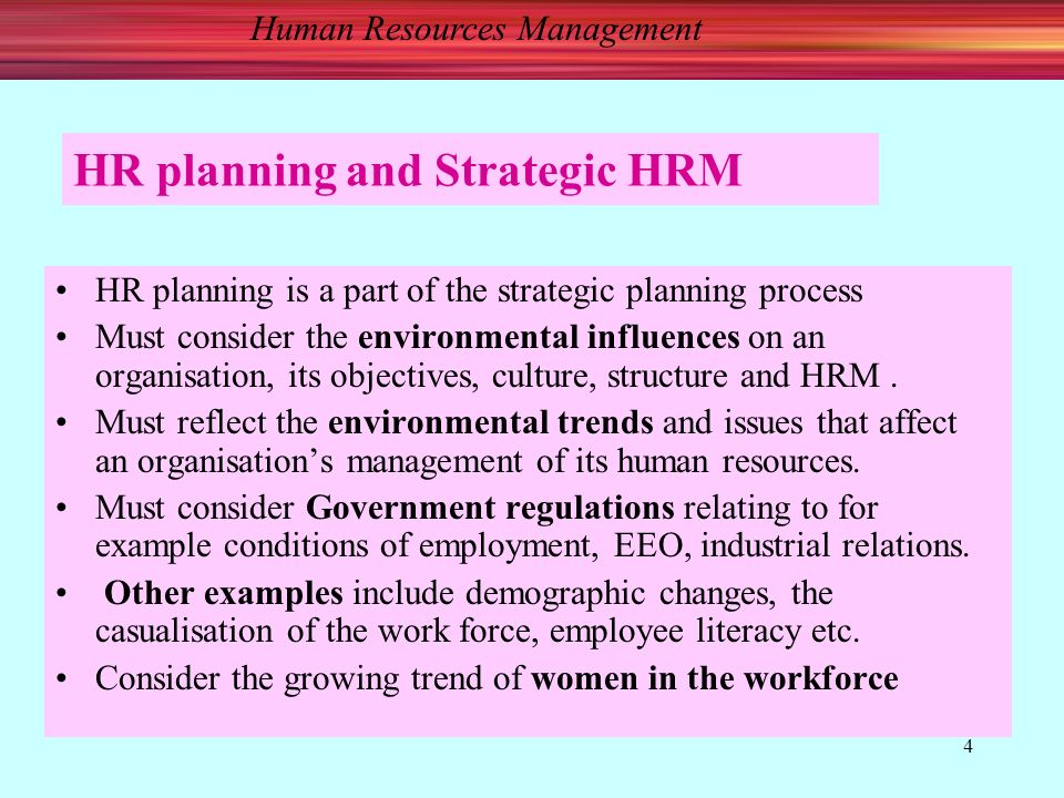 Human Resources Management 4 HR planning and Strategic HRM HR planning is a part of the strategic planning process Must consider the environmental influences on an organisation, its objectives, culture, structure and HRM.