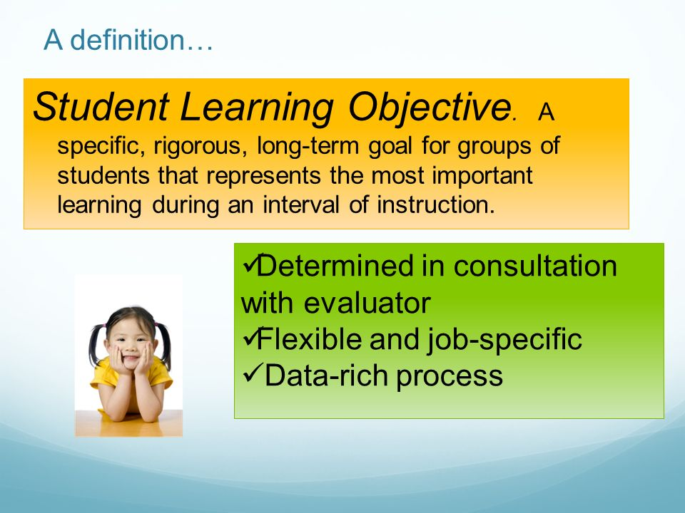 Student Learning Objective.