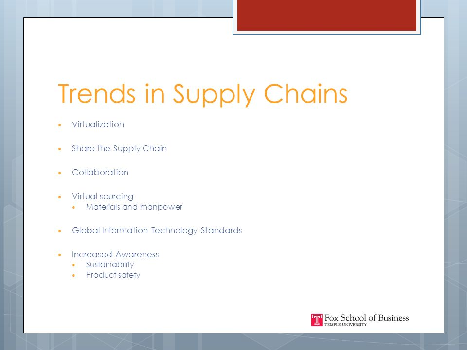 Trends in Supply Chains Virtualization Share the Supply Chain Collaboration Virtual sourcing Materials and manpower Global Information Technology Standards Increased Awareness Sustainability Product safety