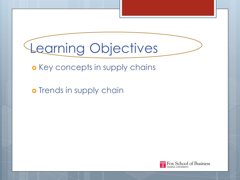 Learning Objectives  Key concepts in supply chains  Trends in supply chain