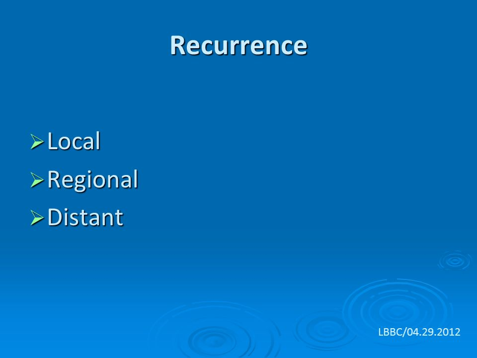 Recurrence  Local  Regional  Distant LBBC/