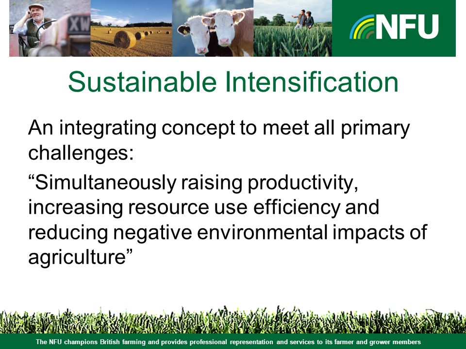 The NFU champions British farming and provides professional representation and services to its farmer and grower members Sustainable Intensification An integrating concept to meet all primary challenges: Simultaneously raising productivity, increasing resource use efficiency and reducing negative environmental impacts of agriculture