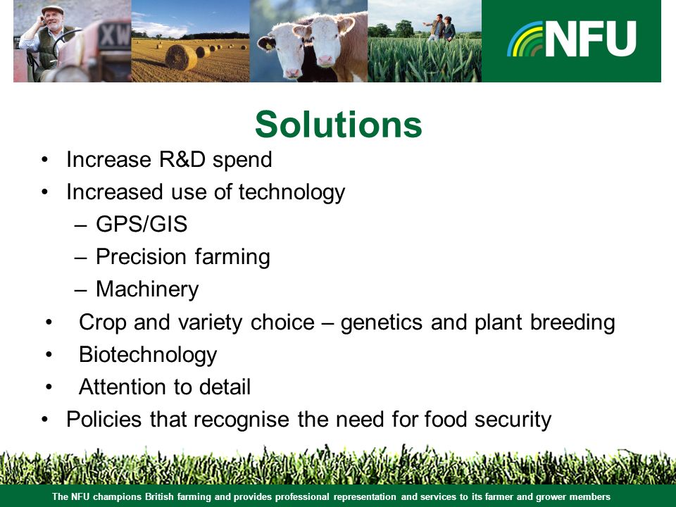 The NFU champions British farming and provides professional representation and services to its farmer and grower members Solutions Increase R&D spend Increased use of technology –GPS/GIS –Precision farming –Machinery Crop and variety choice – genetics and plant breeding Biotechnology Attention to detail Policies that recognise the need for food security