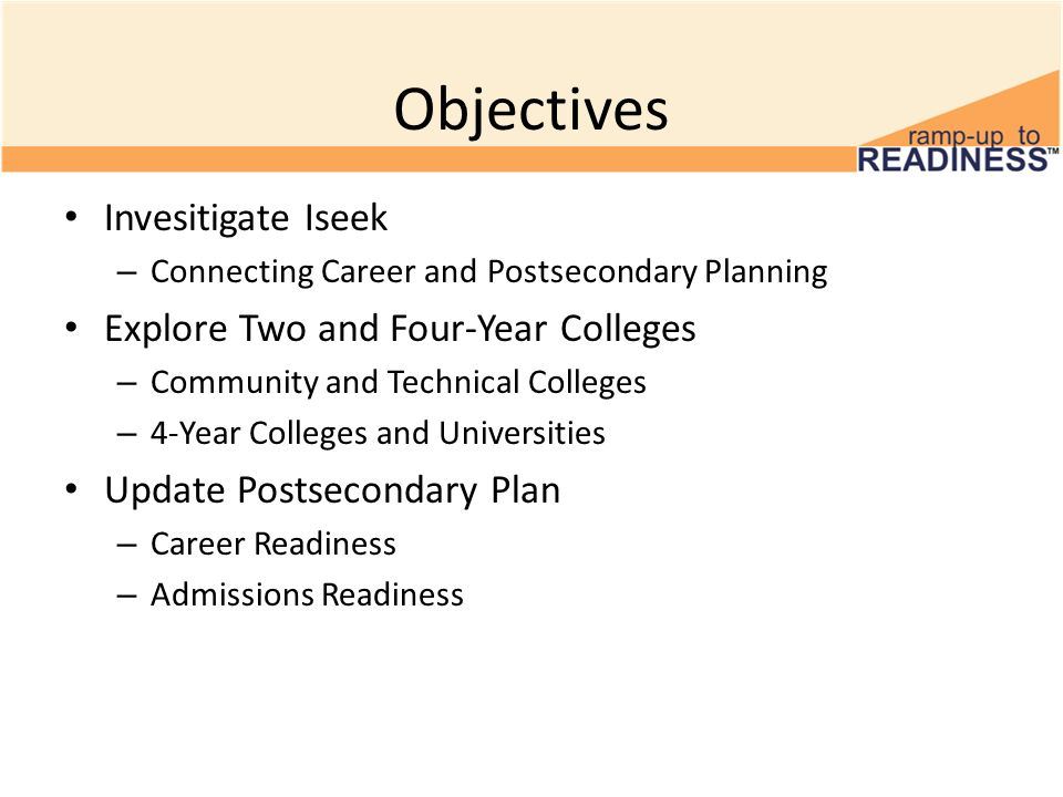Objectives Invesitigate Iseek – Connecting Career and Postsecondary Planning Explore Two and Four-Year Colleges – Community and Technical Colleges – 4-Year Colleges and Universities Update Postsecondary Plan – Career Readiness – Admissions Readiness