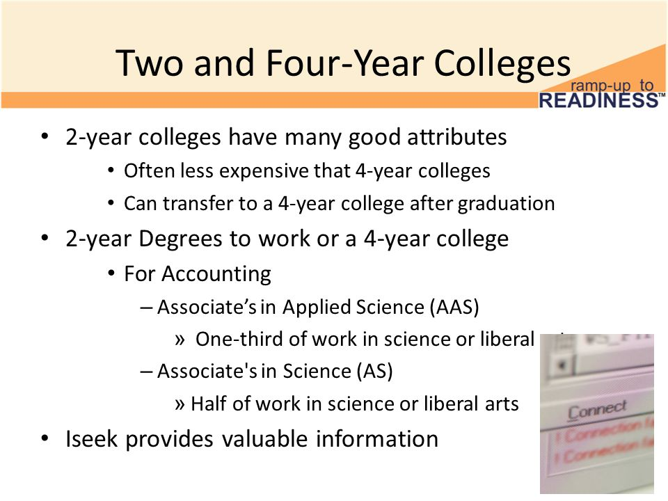 Two and Four-Year Colleges 2-year colleges have many good attributes Often less expensive that 4-year colleges Can transfer to a 4-year college after graduation 2-year Degrees to work or a 4-year college For Accounting – Associate's in Applied Science (AAS) » One-third of work in science or liberal arts – Associate s in Science (AS) » Half of work in science or liberal arts Iseek provides valuable information