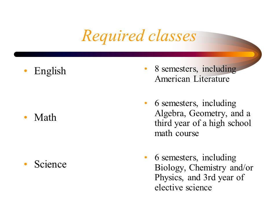 Required classes English Math Science 8 semesters, including American Literature 6 semesters, including Algebra, Geometry, and a third year of a high school math course 6 semesters, including Biology, Chemistry and/or Physics, and 3rd year of elective science