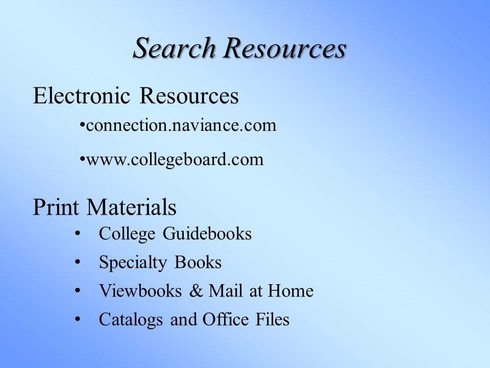 Search Resources Print Materials Electronic Resources connection.naviance.com   College Guidebooks Specialty Books Viewbooks & Mail at Home Catalogs and Office Files