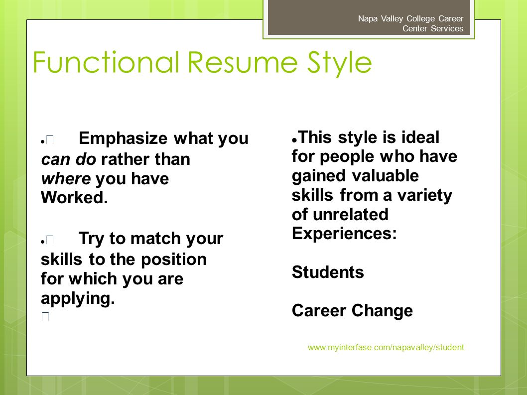 Preparing an Effective Resume Napa Valley College Career Center ...
