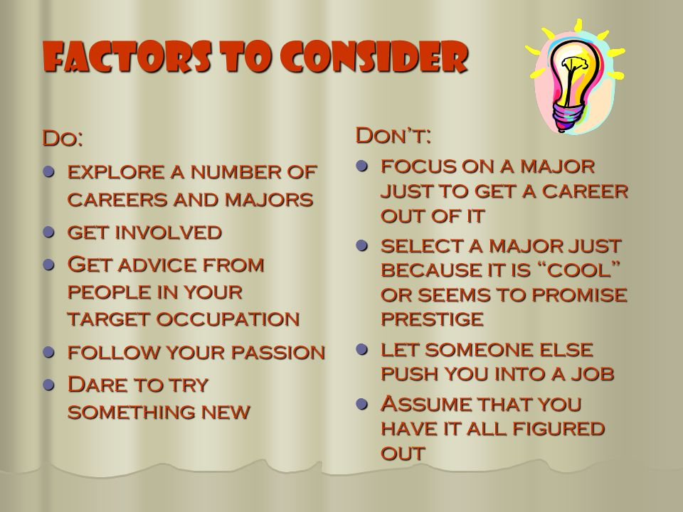 Factors to consider when choosing a job