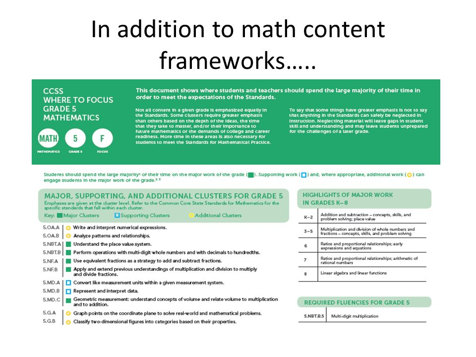 In addition to math content frameworks…..