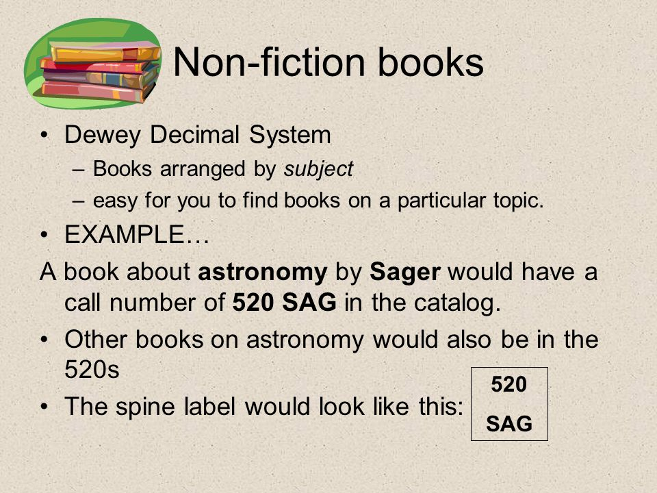 Non-fiction books Dewey Decimal System –Books arranged by subject –easy for you to find books on a particular topic.