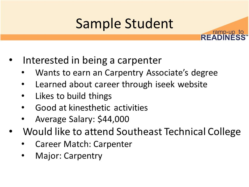 Sample Student Interested in being a carpenter Wants to earn an Carpentry Associate's degree Learned about career through iseek website Likes to build things Good at kinesthetic activities Average Salary: $44,000 Would like to attend Southeast Technical College Career Match: Carpenter Major: Carpentry