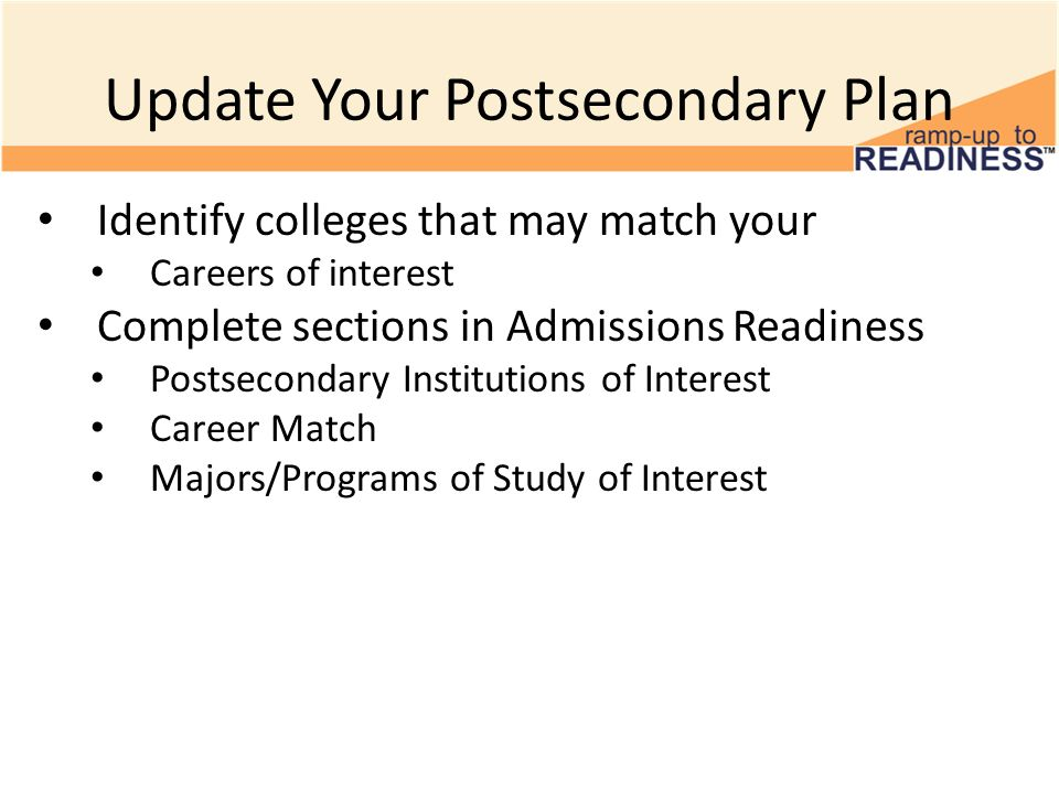 Update Your Postsecondary Plan Identify colleges that may match your Careers of interest Complete sections in Admissions Readiness Postsecondary Institutions of Interest Career Match Majors/Programs of Study of Interest