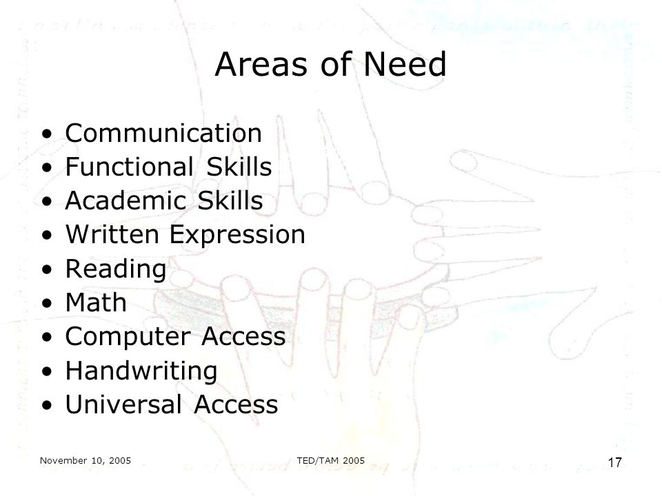 November 10, 2005TED/TAM Areas of Need Communication Functional Skills Academic Skills Written Expression Reading Math Computer Access Handwriting Universal Access