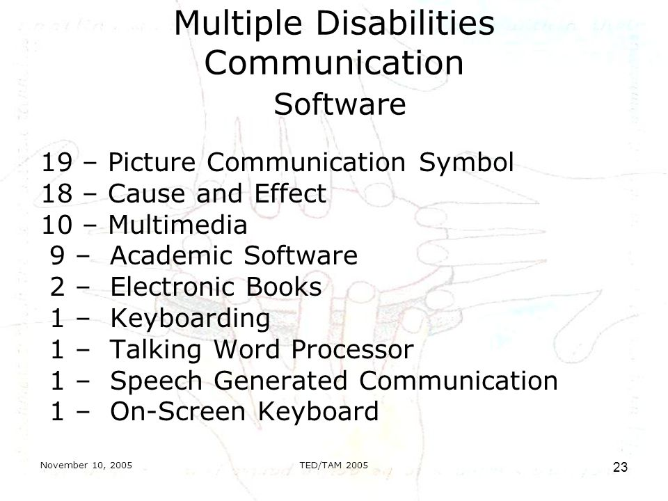November 10, 2005TED/TAM Multiple Disabilities Communication Software 19 – Picture Communication Symbol 18 – Cause and Effect 10 – Multimedia 9 – Academic Software 2 – Electronic Books 1 – Keyboarding 1 – Talking Word Processor 1 – Speech Generated Communication 1 – On-Screen Keyboard