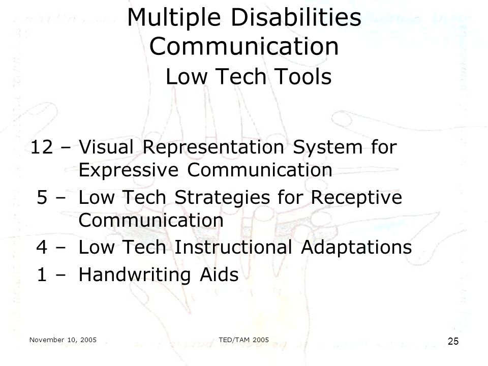 November 10, 2005TED/TAM Multiple Disabilities Communication Low Tech Tools 12 – Visual Representation System for Expressive Communication 5 – Low Tech Strategies for Receptive Communication 4 – Low Tech Instructional Adaptations 1 – Handwriting Aids